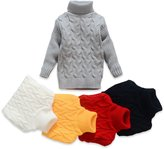 TUTUYU Kids Soild Turtleneck Sweater Boys Girls Knit Sweater for Christmas Grey