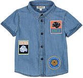 Kenzo Badge-Appliquéd Cotton Chambray Shirt