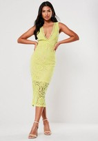 Missguided Lime Lace Plunge Midaxi Dress