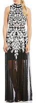 Betsy & Adam Beaded Illusion Mock Neck Gown