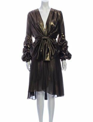 Johanna Ortiz V-Neck Midi Length Dress Gold