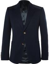 Gucci Navy Slim-Fit Suede-Trimmed Stretch-Cotton Blazer