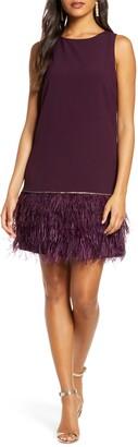 Tahari Feather Detail Sleeveless Crepe Shift Dress