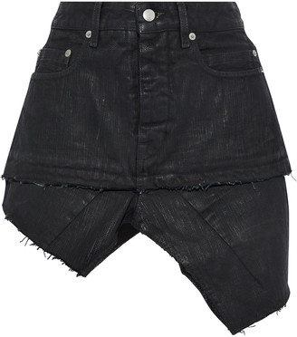 Rick Owens Asymmetric Distressed Coated Denim Mini Skirt