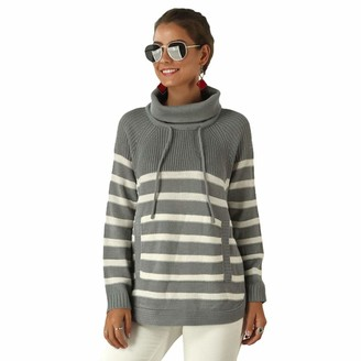 Ketamyy Women's Knitted Jumpers with Front Pocket Curved Hem Turtleneck Knit Striped Long Sleeve Casual Loose Soft Winter Pullover Sweater Tops Knitwear Grey M
