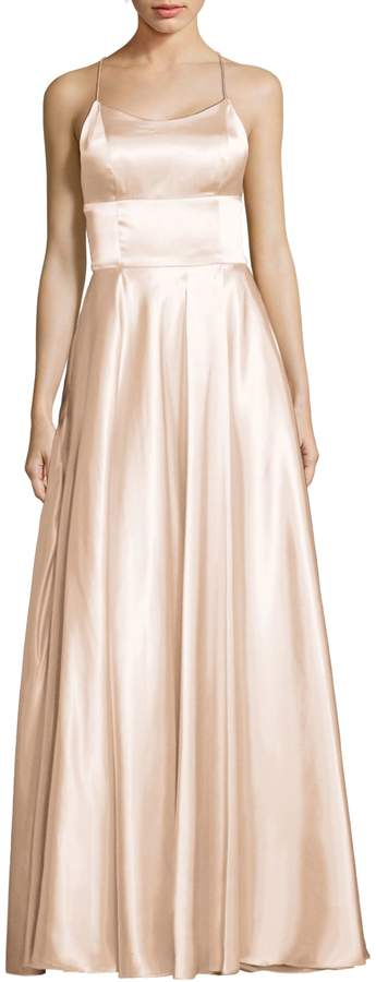 Betsy & Adam Satin Wrap Tie-Back Gown