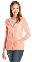 Miss Chievous Junior's Peached Haaci V-Neck Zip Front Hoodie with Lace Front Overlay