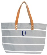 Cathy Women's Monogrammed Grey Striped Tote with Leather Handles - Cathy's Concepts