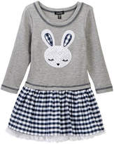 Zunie Long Sleeve Roll Tab Solid/Gingham Skirt Dress (Toddler & Little Girls)