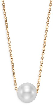 Bloomingdale's Cultured Freshwater Pearl Floating Pendant Necklace in 14K Yellow Gold, 16-18 - 100% Exclusive