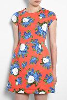 Orange Floral Scuba Dress