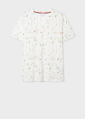 Paul Smith Women's White V-Neck 'Achille Pinto' Print Cotton T-Shirt