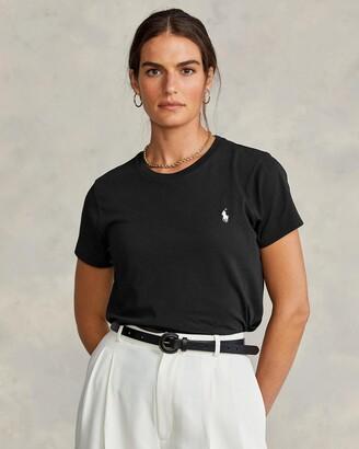 Polo Ralph Lauren Women's Black Basic T-Shirts - Cotton Crewneck T-Shirt - Size XS at The Iconic