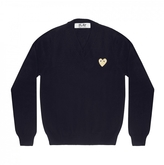 Comme des Garcons V-Neck Pullover Sweater With Gold Heart