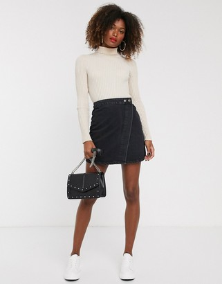 Asos DESIGN denim wrap skirt in washed black