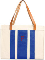 Cathy's Concepts Personalized Blue Stitched Stripe Canvas Tote with Leather Handles