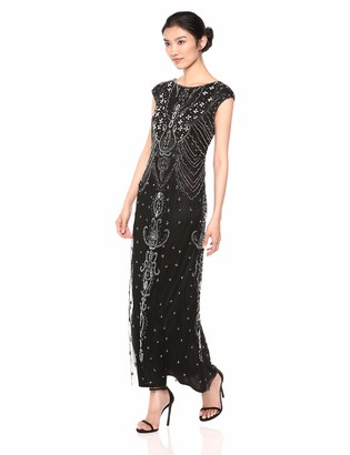 Pisarro Nights Women's Long Boat Neck Beaded Dress with Pearl Detailing