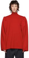 Balenciaga Red Wool Puffed Sleeves Turtleneck