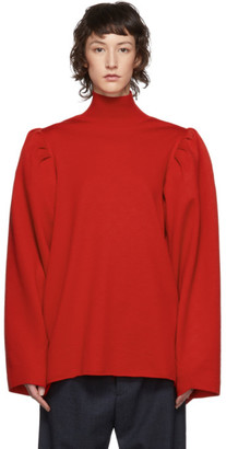 Balenciaga Red Wool Puffed Sleeves Turtleneck