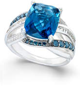 Macy's Blue Topaz (6-1/3 ct. t.w.) and Diamond (5/8 ct. t.w.) Statement Ring in 14k White Gold