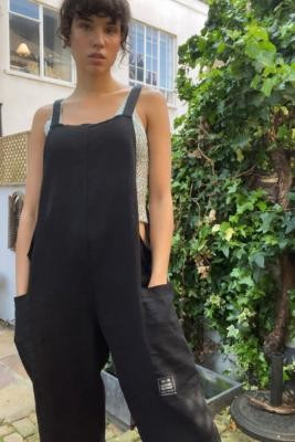 Urban Outfitters Albie Linen Dungarees - Black XS at