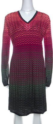 M Missoni Multicolor Ombre Pattern Knit V Neck Dress M