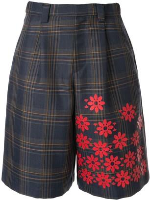 Kolor Floral-Print Plaid Shorts