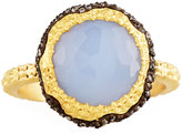 Armenta Old World Chalcedony Scallop Ring w/ Diamonds, Size 6.5