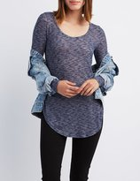 Charlotte Russe Marled Scoop Neck Tunic Top