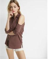 Express Cold Shoulder Silky Soft Twill Boyfriend Shirt
