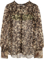 Givenchy Silk-chiffon Blouse With Turtle Print - Army green
