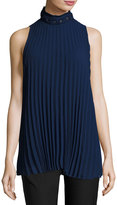 Max Studio Sleeveless Pleated High-Neck Blouse, Purple Blue