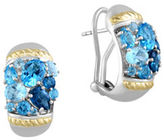 Effy Sterling Silver, 18K Yellow Gold and Blue Topaz Omega Earrings
