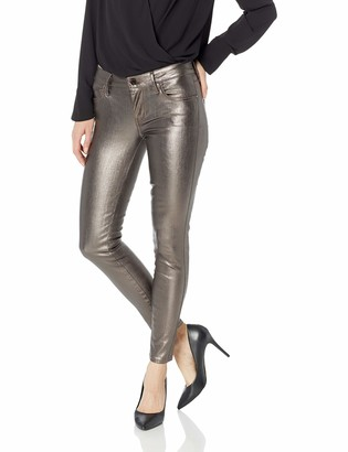 GUESS Women's Hi Gloss Metallic Sexy Curve Jean Pewter