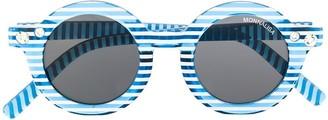 MonnaLisa Striped Print Round Frame Sunglasses