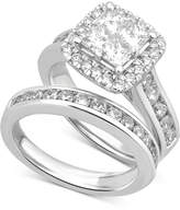 Macy's Diamond Square Halo Channel-Set Bridal Set (2-7/8 ct. t.w.) in 14k White Gold