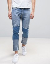 Love Moschino Cropped Slim Fit Jeans with Knee Patches and Back Waist Tab