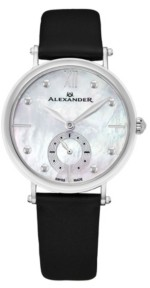 Stuhrling Original Alexander Watch A201-01, Ladies Quartz Small-Second Watch with Stainless Steel Case on Black Satin Strap