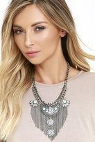 LuLu*s All Its Glory Silver Rhinestone Statement Necklace
