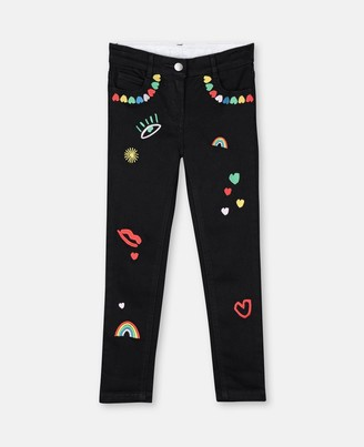 Stella McCartney hearts embroidery skinny denim trousers
