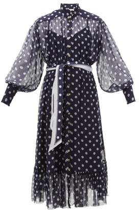 Zimmermann Sabotage Lantern Belted Polka-dot Silk Midi Dress - Womens - Navy Print