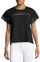 Burberry Lace-Insert Cotton Tee, Black