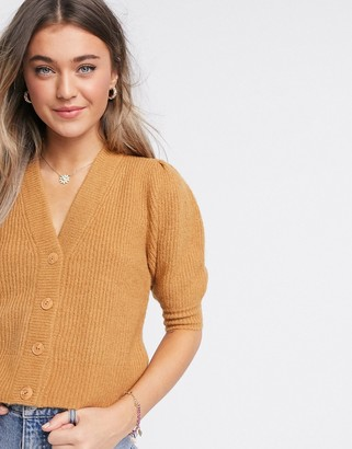Monki Puffy fluffy rib short sleeve cardigan in beige