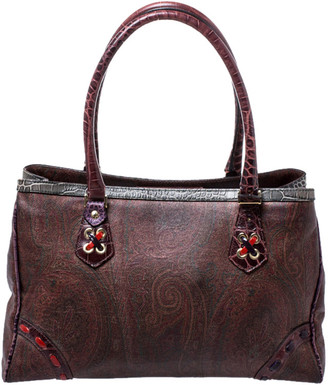 Etro Multicolor Paisley Printed Coated Canvas Tote