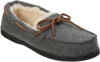 Dearfoams Genuine Wool Slipper Moccasins with Tie