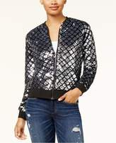 Say What Juniors' Sequined Bomber Jacket