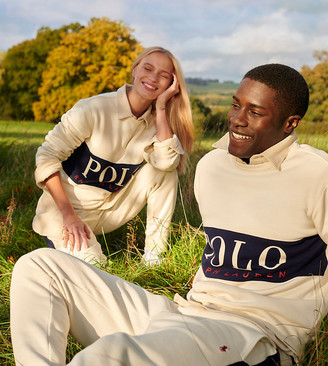 Polo Ralph Lauren x ASOS exclusive collab sweatpants in cream with side stripe and pony logo
