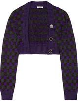Miu Miu Cropped Checked Wool-blend Cardigan - Purple