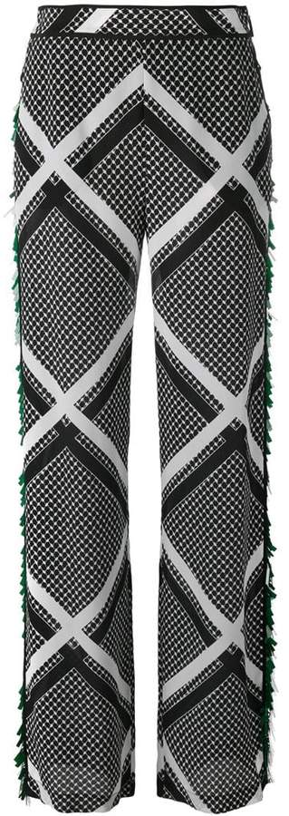 MSGM tassel trim printed trousers