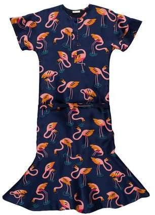 DELPOZO Flamingo Printed Organza Dress